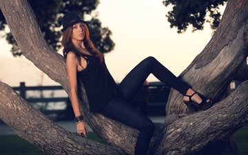 tree, girl, pose, look, model, legs, hair, face, hat, brian storey