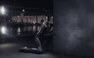 night, girl, mask, the city, wall, fantasy, model, costume, boots, catwoman, photoart