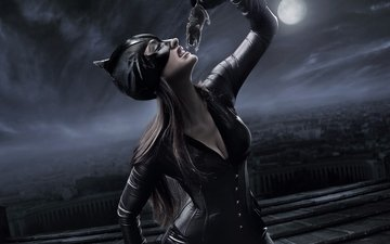 night, mask, the city, the moon, fantasy, costume, darkness, mouse, catwoman, photoart