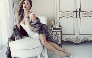 girl, pose, smile, legs, chair, makeup, fur, glamour, photoshoot, shay mitchell