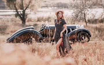 girl, dress, retro, look, auto, meadow, hair, face, hat, limousine