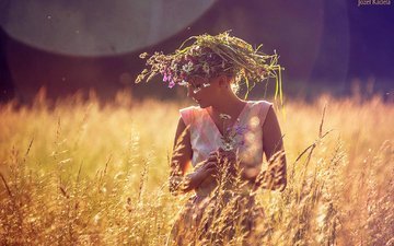 girl, dress, field, summer, model, wildflowers, wreath, josef kadela