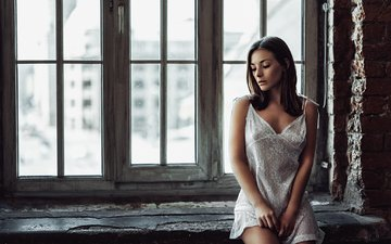 girl, brunette, model, window, long hair, sill, sitting, george chernyadev, olga kobzar