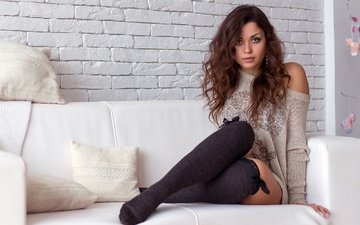 girl, look, hair, face, sofa, long hair, knee, sitting