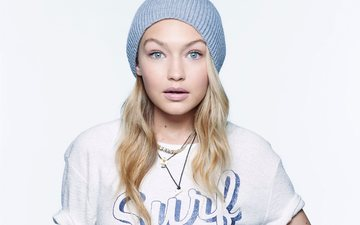 girl, look, hair, face, actress, white background, hat, american model, gigi hadid