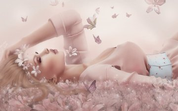 flowers, girl, face, butterfly, makeup, closed eyes
