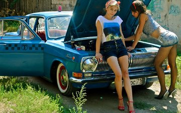 girl, the city, girls, taxi, car, blonde, dark, dress, shorts, front, газ24, gaz24