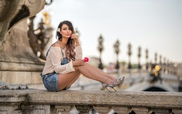 girl, pose, the city, look, legs, hair, face, denim shorts, katya