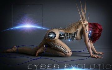 girl, cyborg, 3d