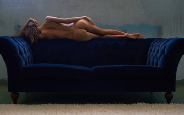 girl, pose, model, back, sofa, naked, ass