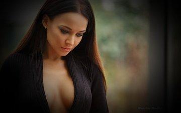 girl, portrait, model, posing, neckline, angelina, angelina petrova, chest -