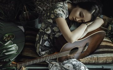 girl, mood, dress, guitar, music, look, hair, asian