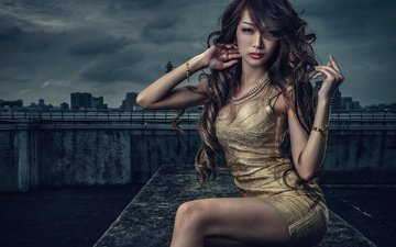 girl, dress, look, model, hair, face, asian, neckline