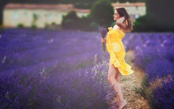 flowers, girl, pose, field, lavender, profile, legs, bouquet, pareo, closed eyes, in yellow