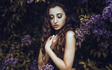flowering, leaves, girl, portrait, hair, face, makeup, lilac, closed eyes, britta beutnagel, cynthia