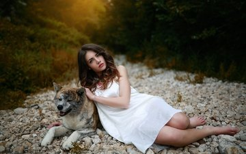 stones, girl, pose, look, dog, hair, face, white dress, nature
