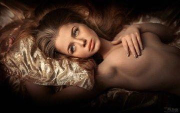 девушка, взгляд, модель, грудь, волосы, лицо, позирует, голая
