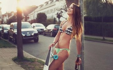 road, girl, street, lips, swimsuit, color, solar, on the street, see, eyes, skateboard, short, front, nice, light, brown, drop