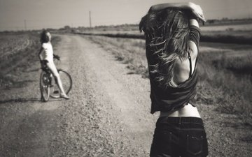 road, people, summer, black and white, girls, bike, shorts