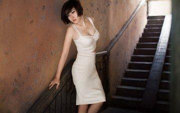 ladder, girl, brunette, model, hair, in white, asian, photoshoot