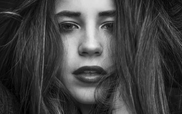 girl, portrait, look, black and white, model, hair, face