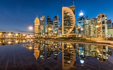 reflection, skyscrapers, night city, building, qatar, doha, sheraton park