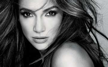 girl, portrait, look, black and white, hair, lips, face, actress, makeup, american singer, jennifer lopez
