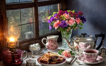 flowers, roses, lamp, rain, bouquet, window, tea, sugar, cakes, pie, still life