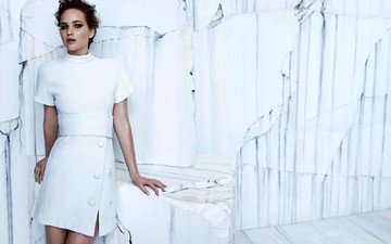 girl, look, wall, model, face, actress, white dress, jennifer lawrence