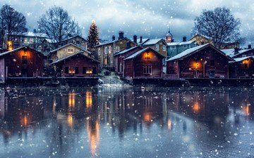 lake, snow, new year, tree, winter, the city, home, finland, porvoo