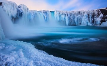 snow, nature, winter, waterfall, ice, iceland, december