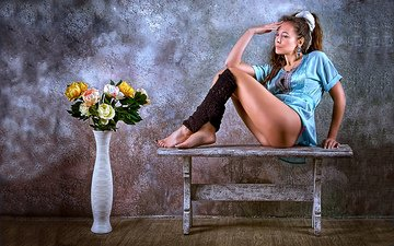 girl, pose, legs