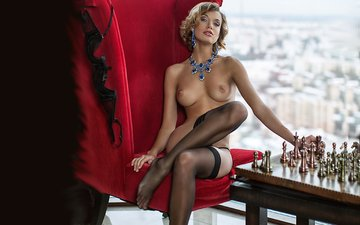 girl, chess, stockings