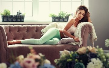 girl, model, sofa, lying, closed eyes, leggings, wavy hair, sean archer, anyuta rai