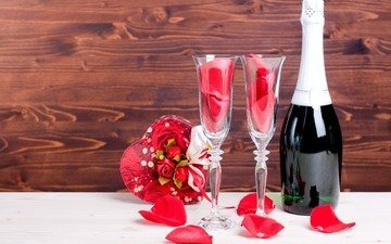 flowers, roses, petals, bouquet, glasses, champagne, valentine's day
