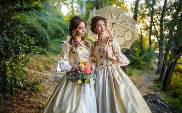 flowers, trees, nature, forest, decoration, retro, path, girls, umbrella, makeup, beautiful, dresses, bokeh, elegant, brown-haired women, hairstyles