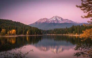 озеро, горы, отражение, осень, гладь
