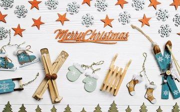 новый год, снежинки, звездочки, лыжи, праздник, рождество, санки, варежки, новогодние украшения, декор