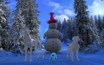 new year, forest, ice, dog, snowman, christmas