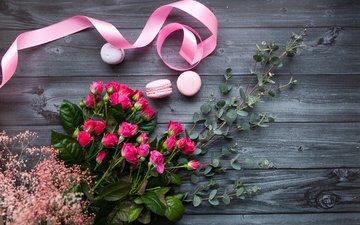 розы, розовые, лента, макаруны