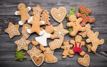 новый год, человечки, елочки, звездочки, праздник, рождество, глазурь, новогоднее печенье, имбирный пряник