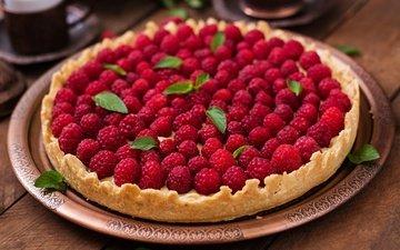 малина, ягоды, много, пирог