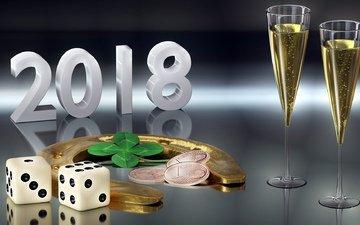 бокалы, монеты, 2018, подкова