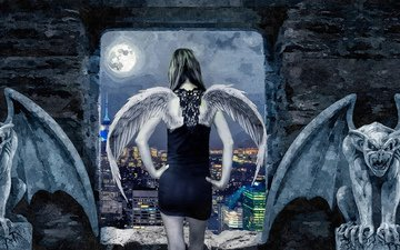 girl, the city, the moon, wings, angel, gargoyles