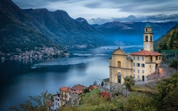 lake, home, italy, town, church, lombardy, lake como, lago di como, pognana lario