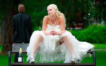 blonde, chest, legs, wedding, white dress, wedding dress, white stockings, bare shoulders, spread her legs
