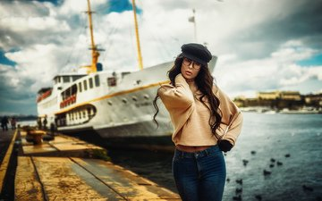 girl, photo, ship, pier, kaan altindal