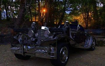 forest, skull, machine gun, mercedes