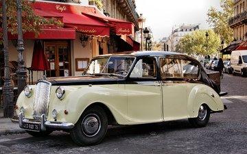 ретро, тропинка, улица, остин, автомобиль, классика, принцесса, широкие, видим, передний, ницца, олдтаймер, легкие, бежевая, 1954