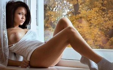 look, girls, model, chest, window, tit, angelina petrova